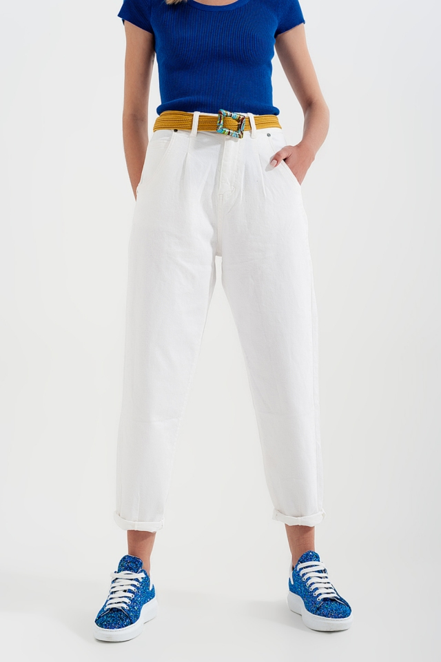 High rise mom jeans with pleat front in white