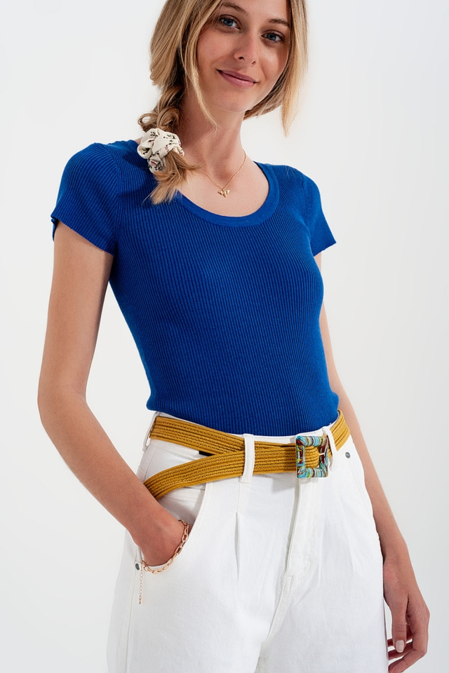 Knitted  fit rib crew neck t-shirt in Blue