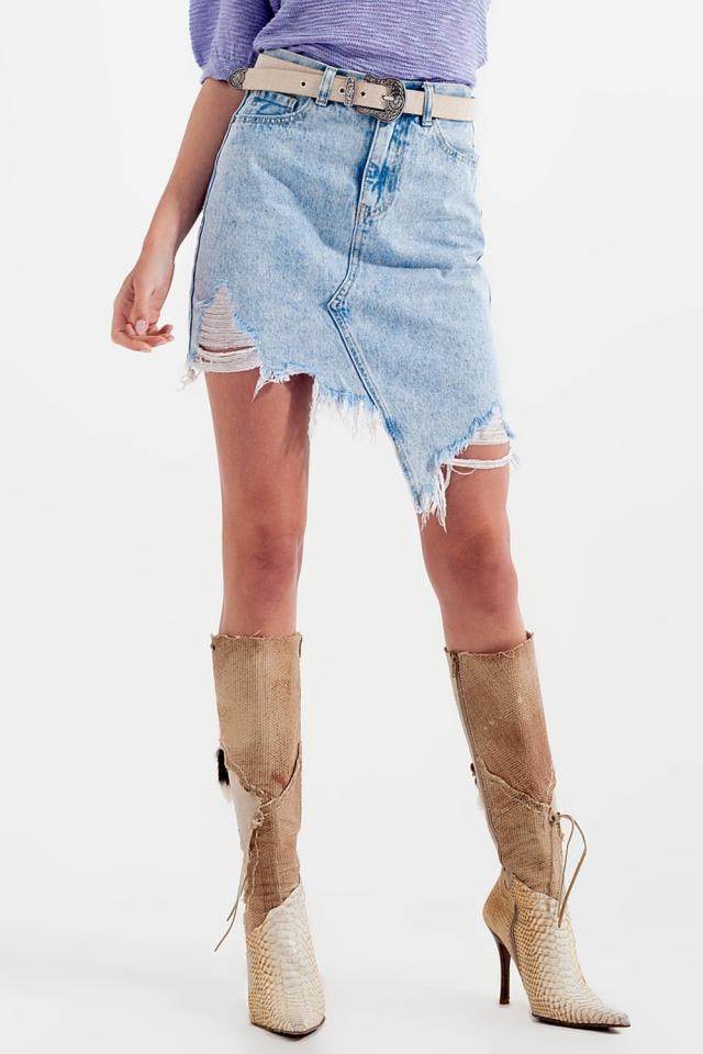 Distressed denim skirt in bleach wash