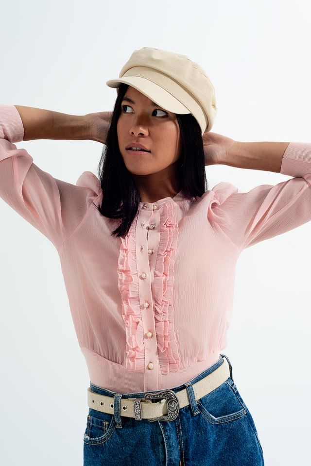 Ruffle front cardigan in pink