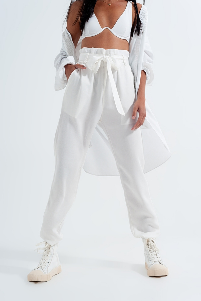 Lightweight Pants with tie waist in white