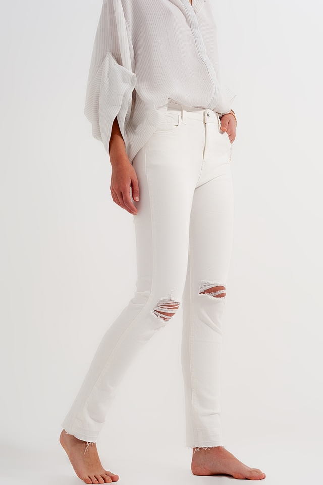 Ripped fray hem jeans in cream