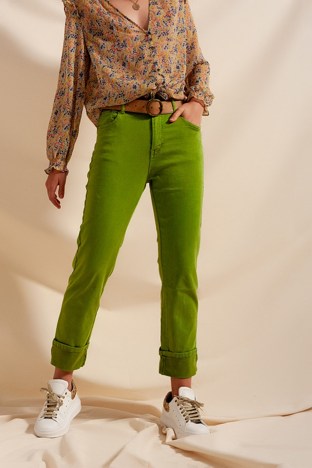 Straight leg jeans with deep turn up in green