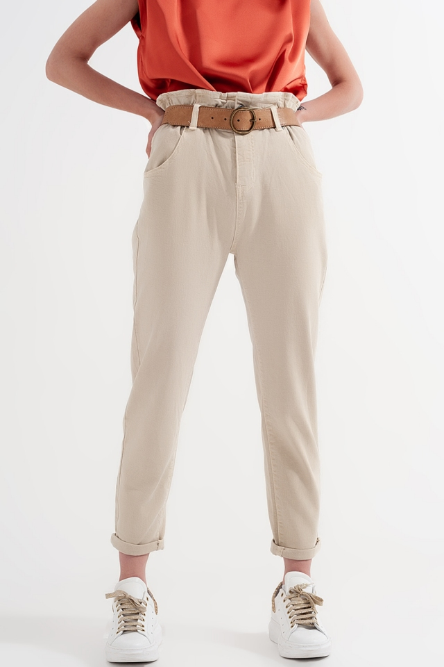 Elasticated paper bag waist mom jean in beige