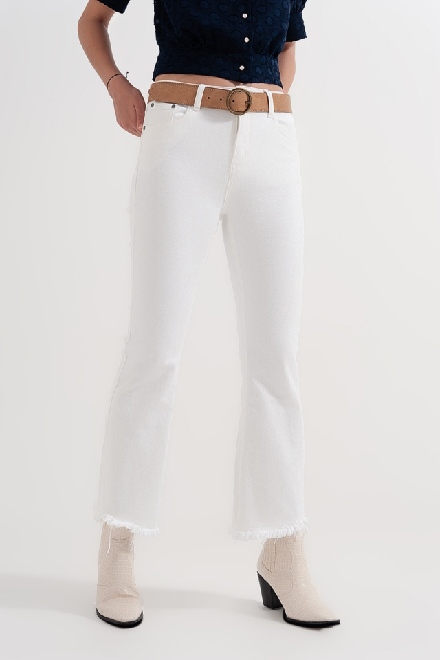 straight Pants in white with wide ankles