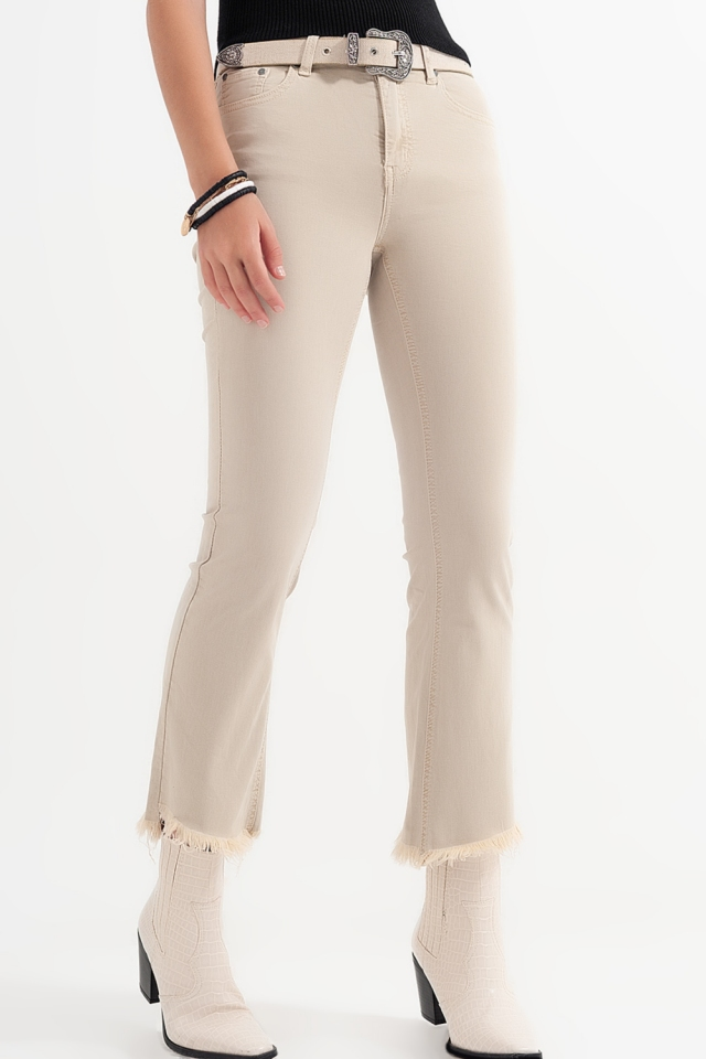straight jeans in beige with wide ankles
