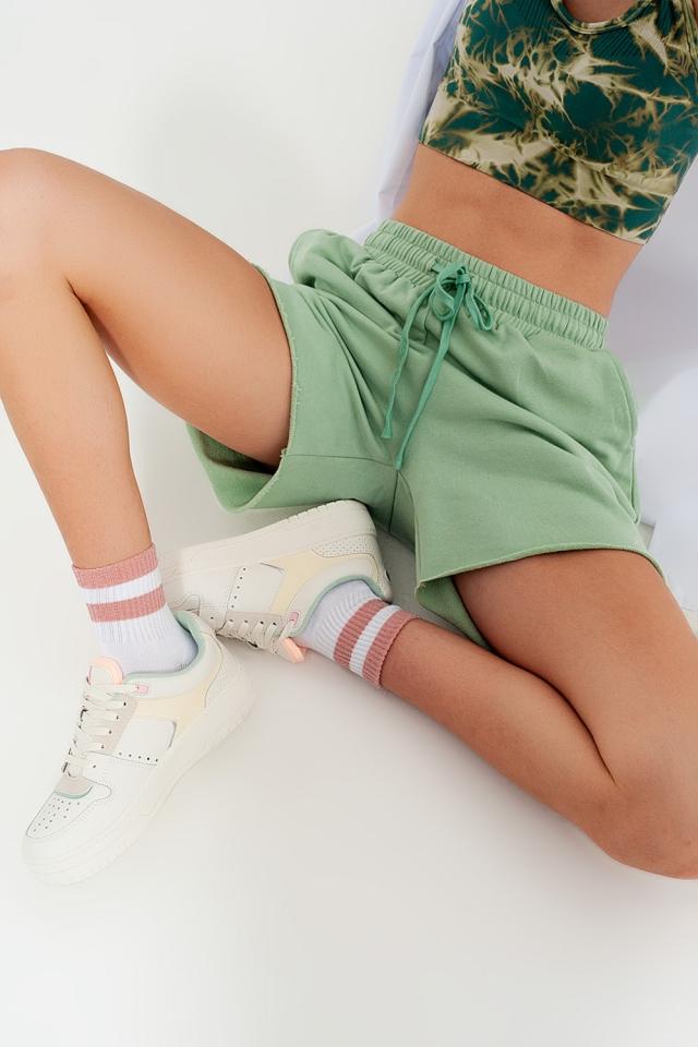Co-ord jersey slim shorts shorter length in green