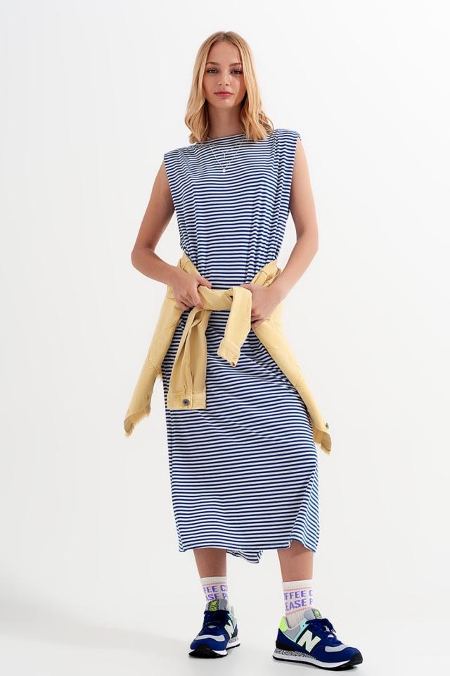 Stripe jersey dress in navy