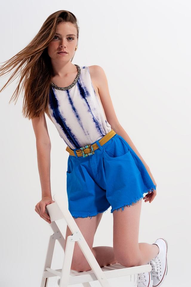 A-line ripped denim shorts in blue