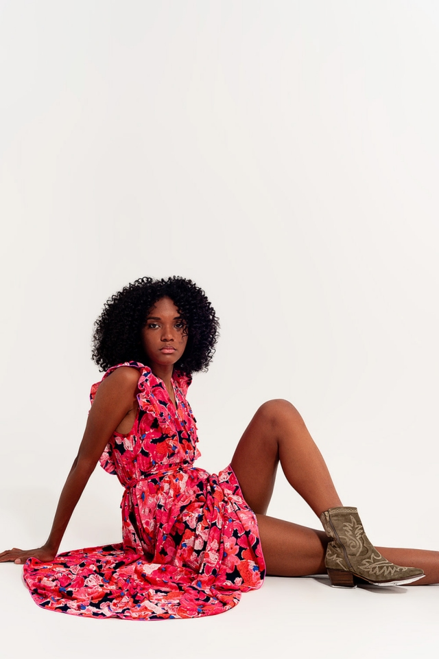 Long dress printed with flowers and pink multicolors
