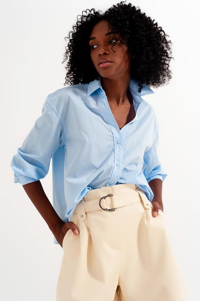 Revere collar shirt in blue