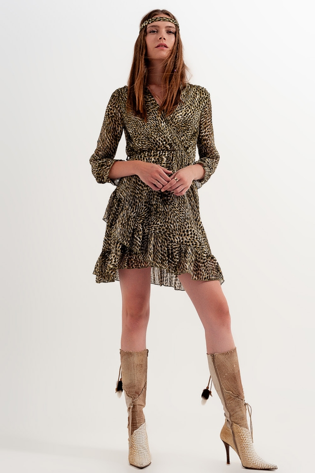Dressed wrap front dress with belt in radiant light print