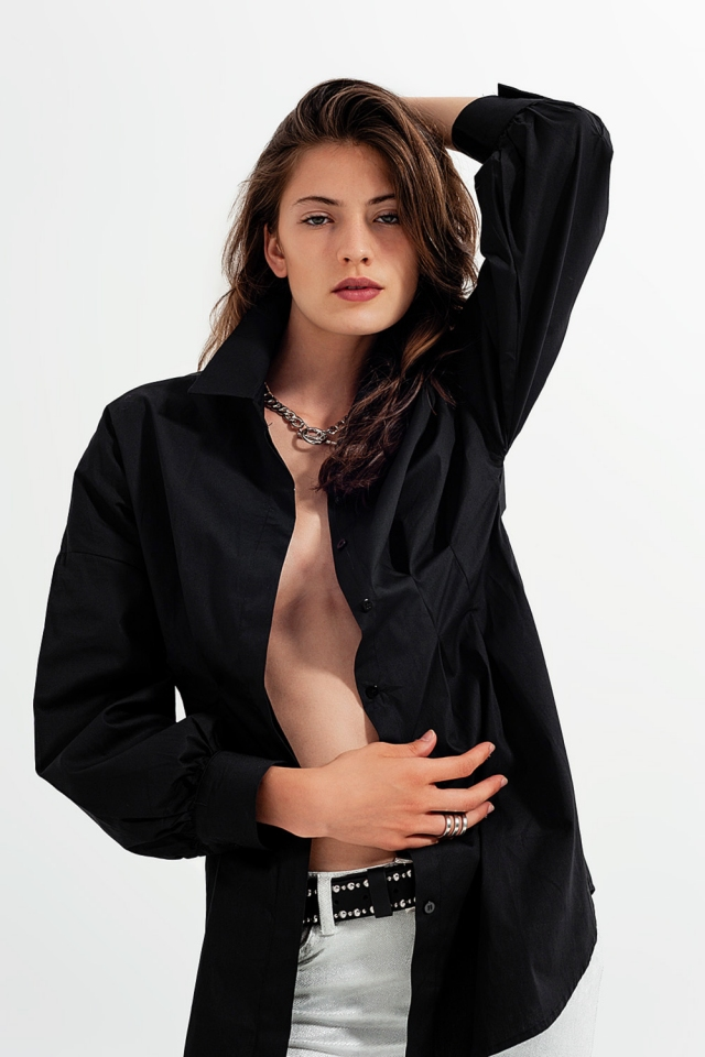 Long sleeve popline shirt in black