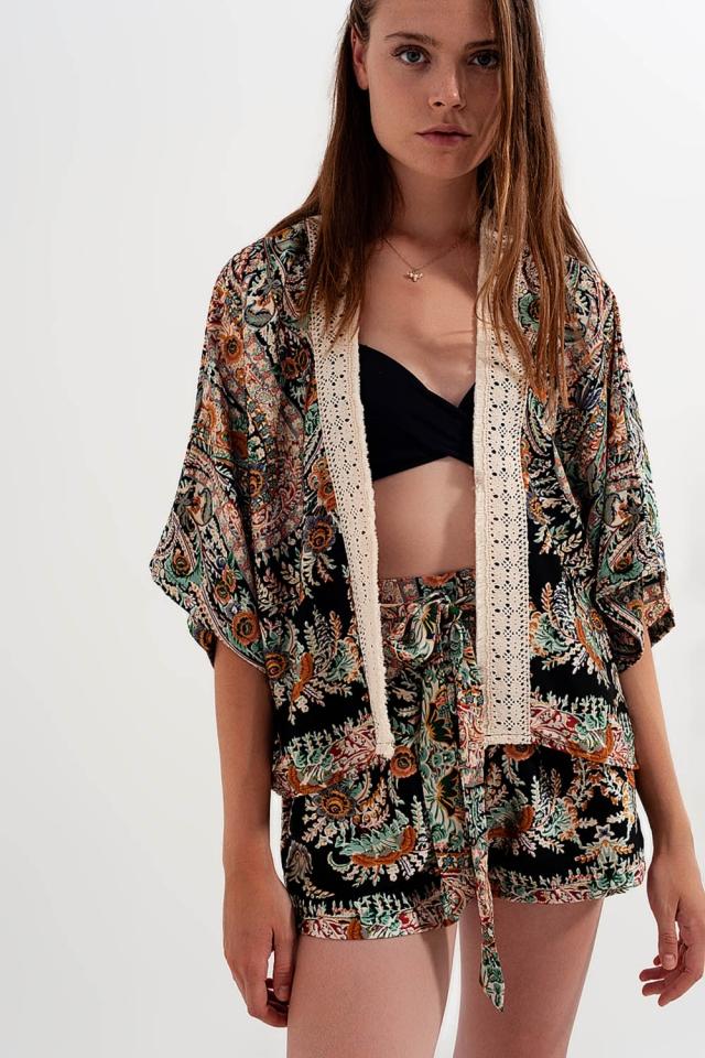Lace trim satin maxi kimono in black