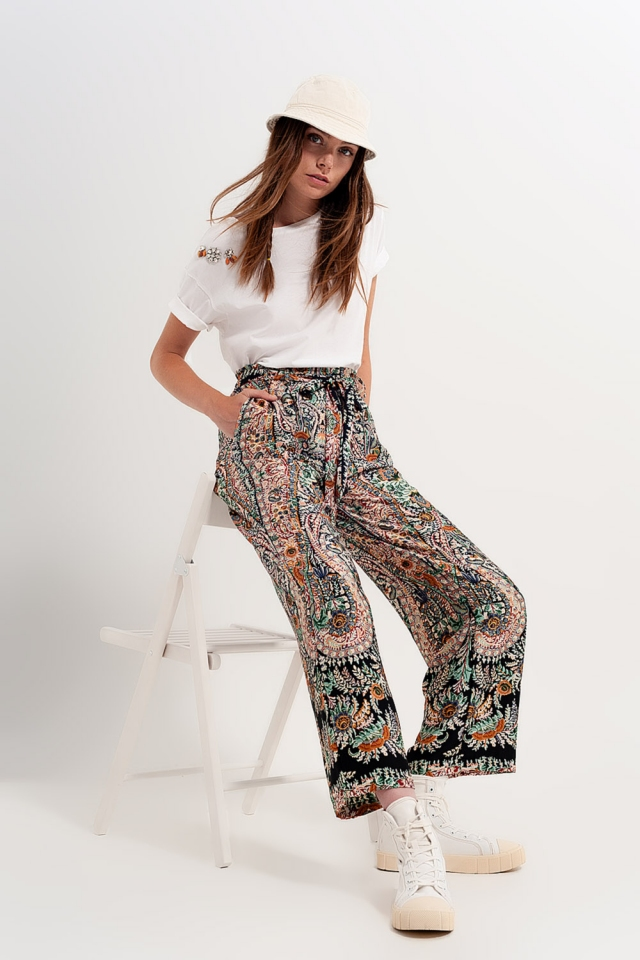 Wide leg trousers co-ord in silky paisley print