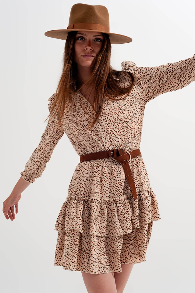 Leopard print mini shirt dress with ruffle collar