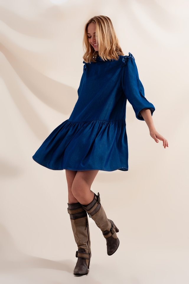 Mini smock dress with tiered skirt in denim