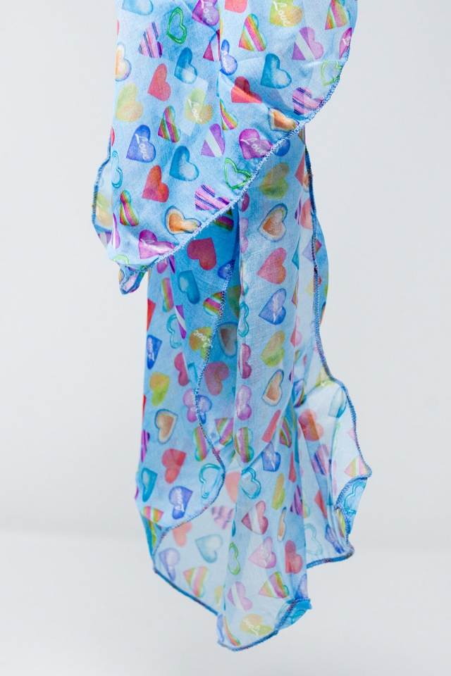 Blue scarf with multicolored hearts print