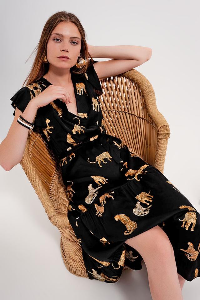 Midi wrap dress in tiger print