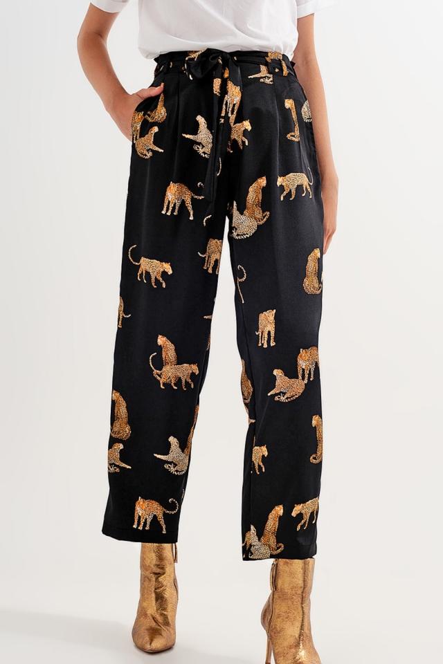 Pant in black tiger print