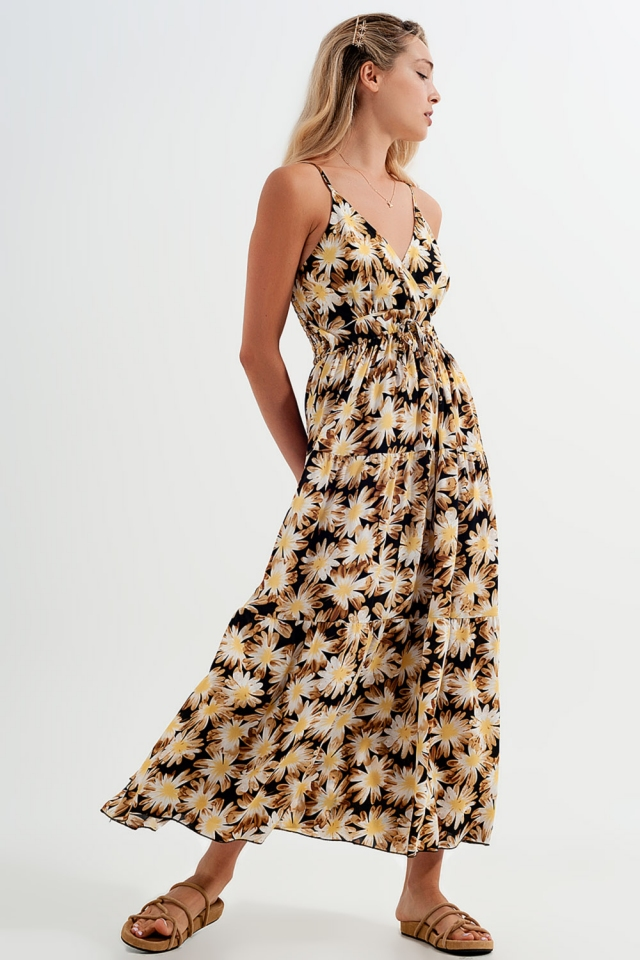 Maxi dress with wrap front detail in yellow floral