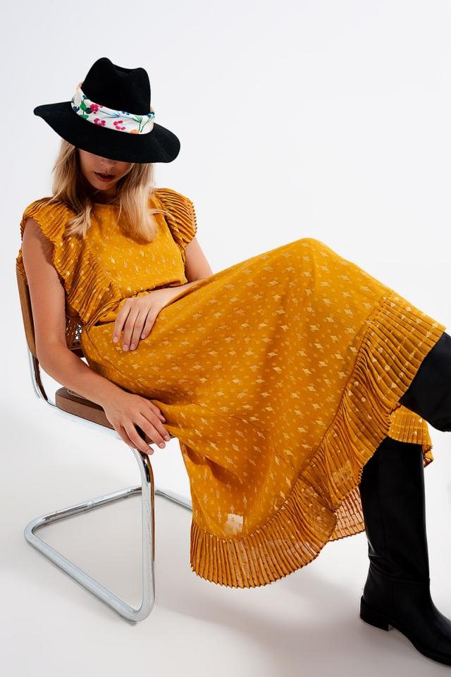 Fringed midi dress with ruffle trim
