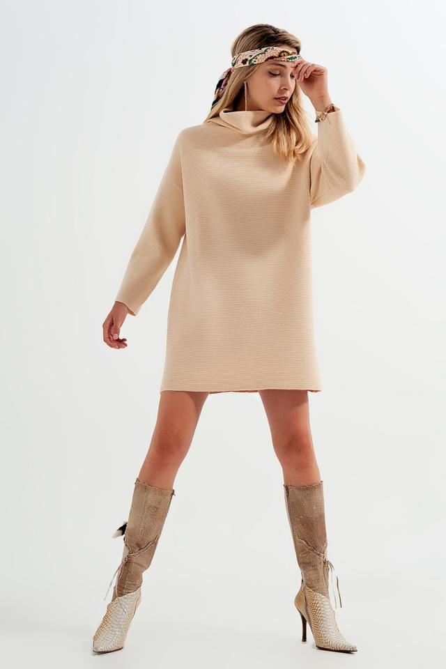 High neck mini jumper dress in beige