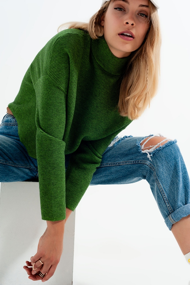Ribbed roll neck jumper in green