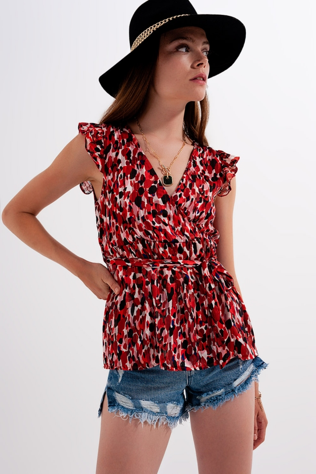 Frill detail blouse in animal