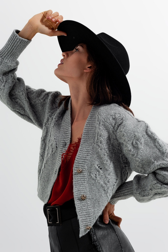Knitted Long sleeve crystal button cardigan in grey