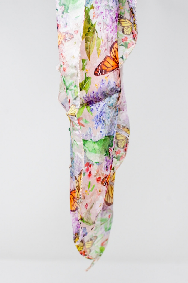 Pink scarf with butterflies print