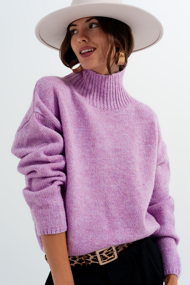 Relaxed knitted cast neck jumper in purple