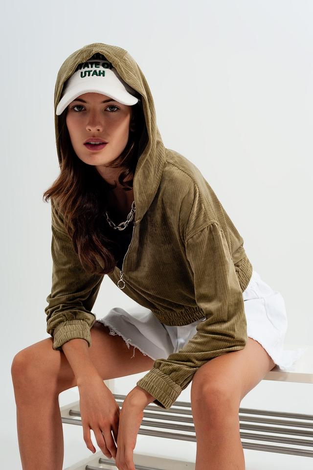 Zip through hoodie in green