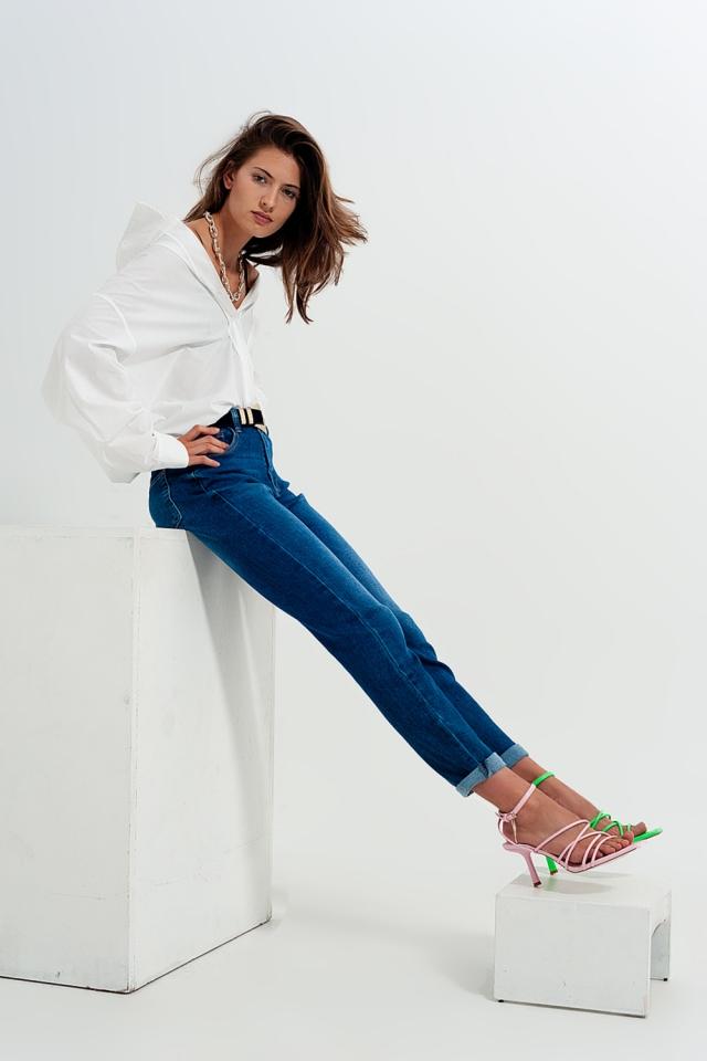 Cotton blend skinny jeans in dark blue