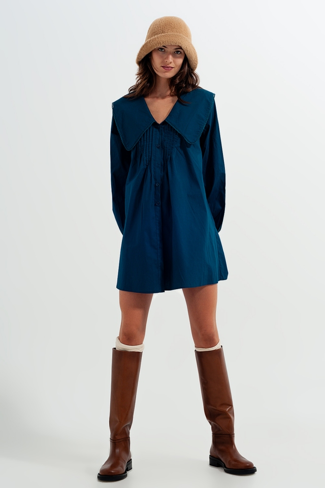 Collared mini dress with button down front in green