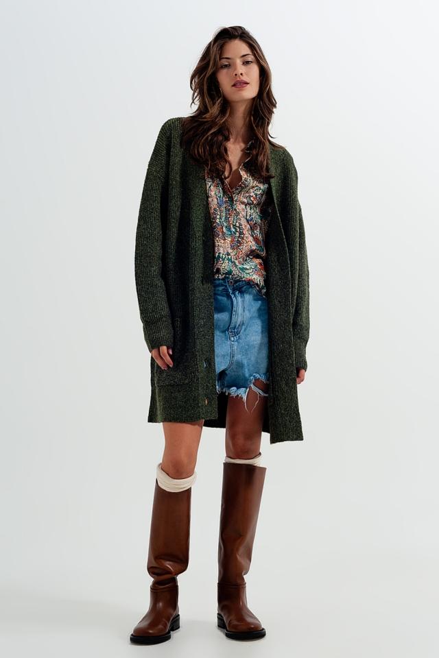 Longline soft knit cardigan in green
