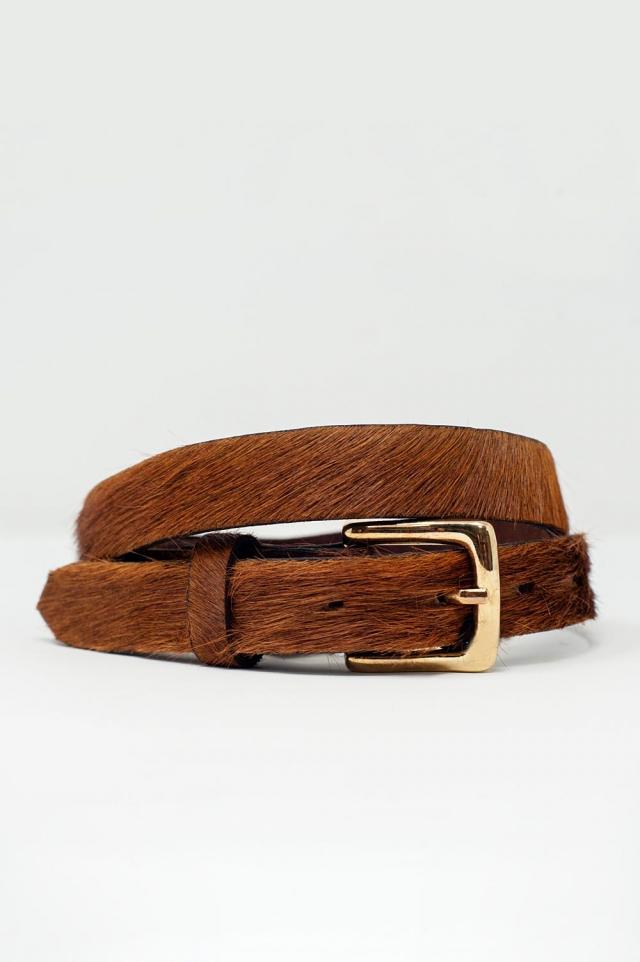 Brown fur thin belt
