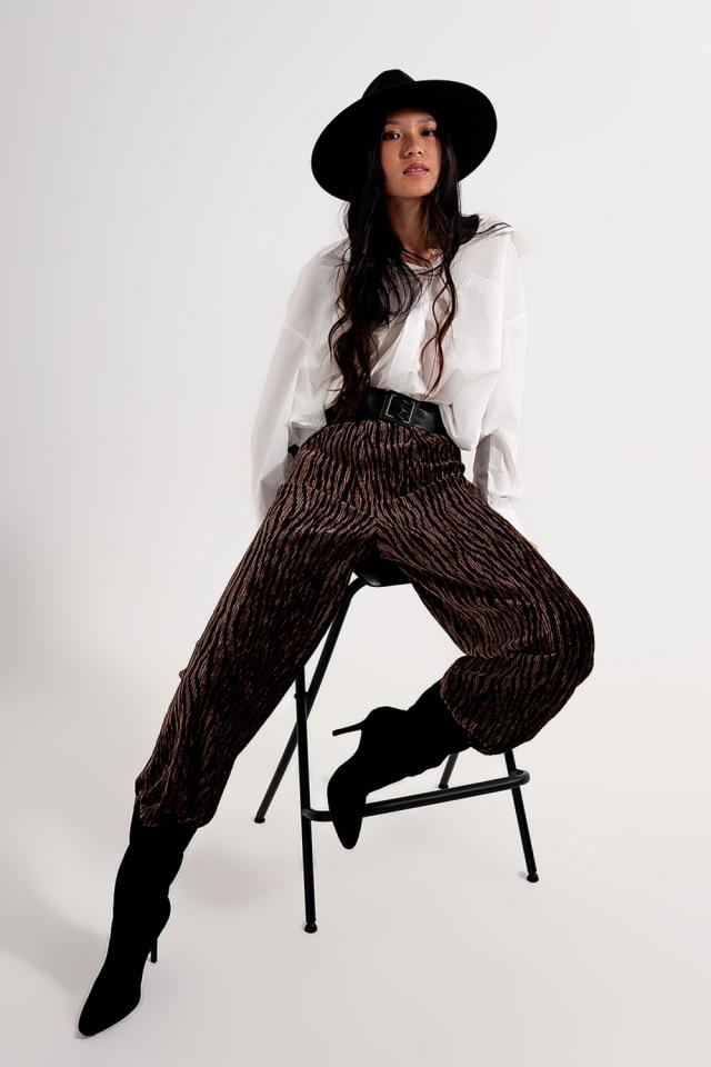 wide-leg print velvet trousers