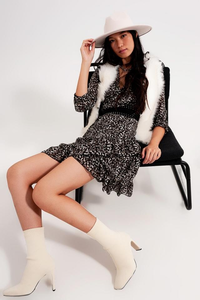 Puff sleeve mini wrap chiffon dress in grey print