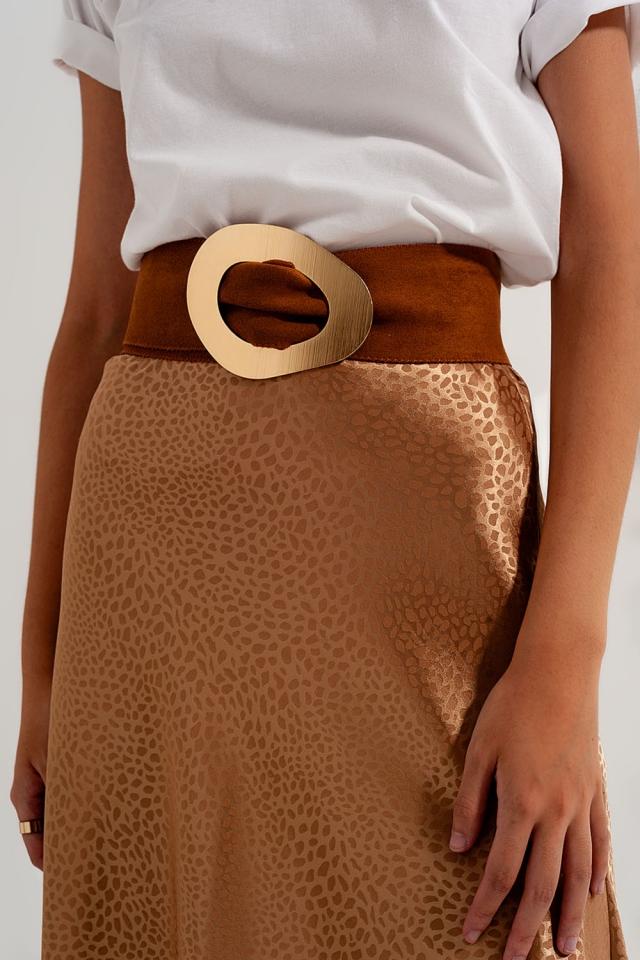 Suede waist belt in tan in brown