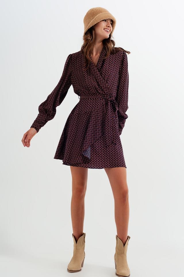 Wrap mini dress in navy geo print