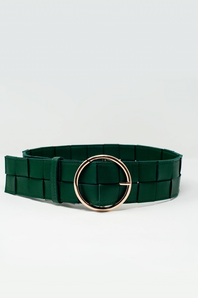 Belt with gold buckle in green