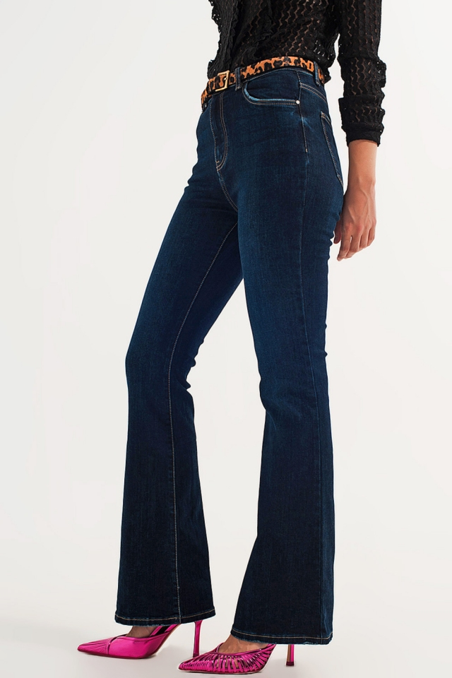 70s high flare jeans in indigo
