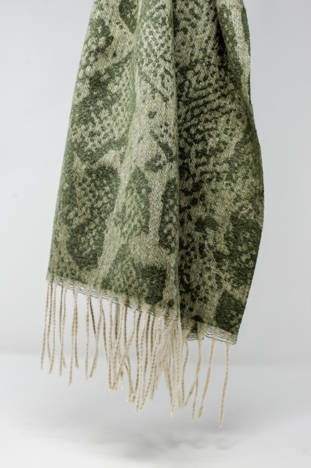 Green snake print scarf with bangs