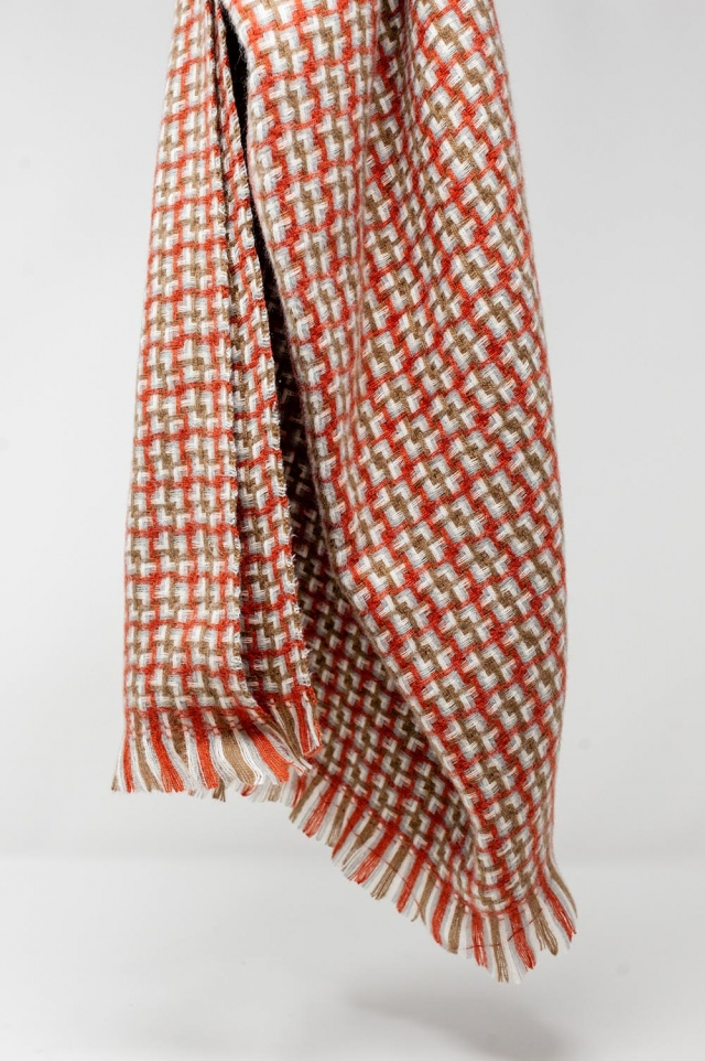 Super soft red scarf with geometric print
