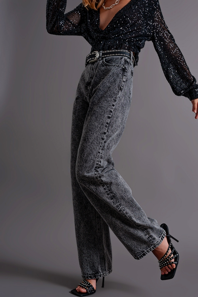Mom jeans with high waist in black